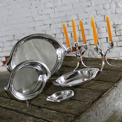 Flair Candelabra and Serving Trays Set of Six Mid Century Modern by 1847 Rogers