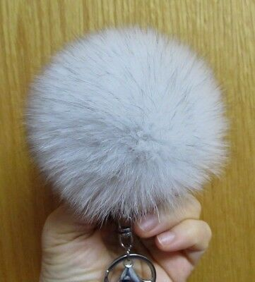 Large Fluffy Real Arctic Fox Fur Keychain Pom Pom Great Gift 4.0 inches