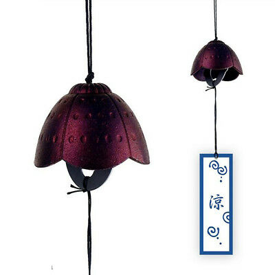 Japanese Windchimes Furin Antique Temple Bell Iwachu Cast Iron Red