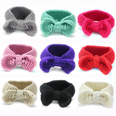Toddler Baby Knitted Crochet Big Bow Turban Headband Hair Head Band Winter Warm