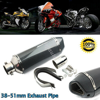 38mm Motorcycle Scooter Exhaust Muffler Pipe With Movable Silencer Carbon Fiber