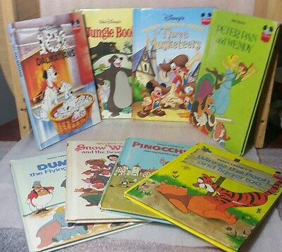 Disney's Wonderful World Of Reading Books Lot Of 9 Hardcover 5-1970's, 3-1980's
