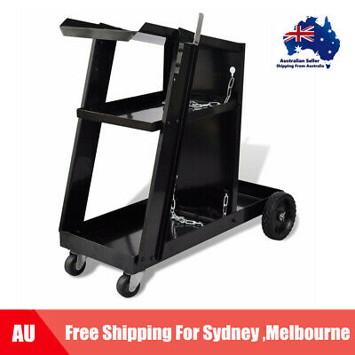3 Shelves Welding Cart Black Trolley Workshop Organiser Welder Storage O8A2