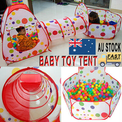 3 in 1 Play Tent Kids Toddlers Tunnel Set Pop Up Children Baby Cubby Playhouse