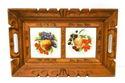 Vintage Hand CARVED WOOD & FRUIT TILE 14x9 SERVING TRAY w HANDLES Wall Hanging