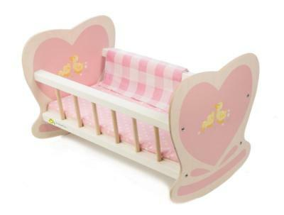 NEW Tender Leaf Toys Wooden Doll Cradle Cot Bed including Bedding