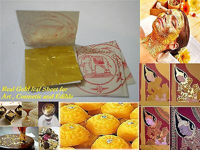 1 pack of Gold leaf Sheet (Real Gold) eating/edible & cosmatic from Thailand