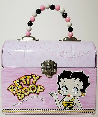 2004 BETTY BOOP PINK TIN PURSE  w/ Beaded Handle 6.5x3x5.5 and FREE SHIPPING!