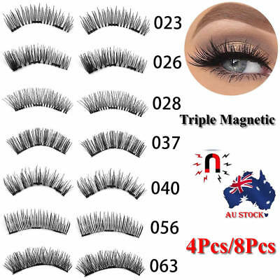 AU! Magnetic Eyelashes 3D Handmade Reusable False No-glue Magnet Eye Lashes 4Pcs