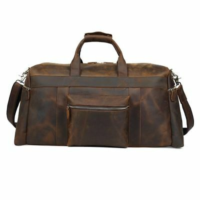 Vintage Men's Leather Travel Overnight Luggage Duffle Gym Shoulder Bag Suitcases