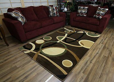 Modern Abstract Contemporary Design Brown Multi-Color Rug Carpet Stain Resistant