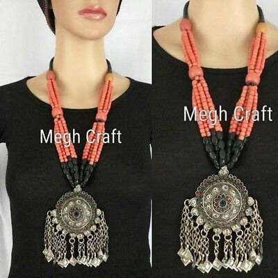 Tribal Vintage Ethnic Afghani Pendant Necklaces - Antique Afghan Necklaclaces.