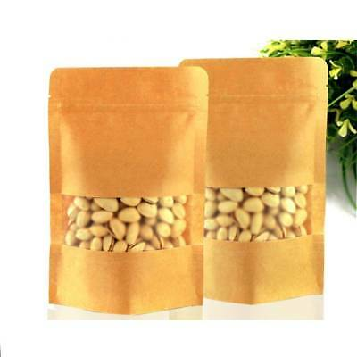 50PC Resealable Kraft Paper Food Bag Clear Window packaging Gift Pouch Zip Lock