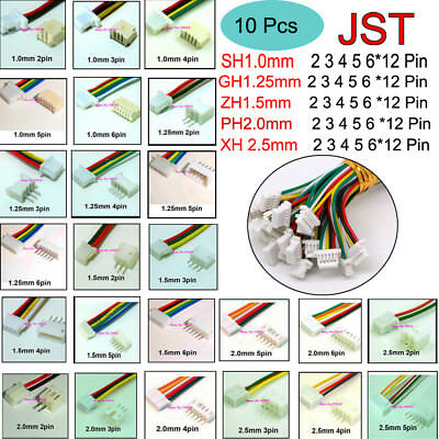 10pcs JST 2-12Pin SH 1.0 ZH1.5 PH 2.0 XH 2.5 Male & Female Connector With Cable