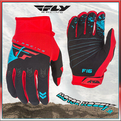 Guanti Off Road Cross Enduro Mtb Quad Fly F-16 Rosso Nero  Taglia L