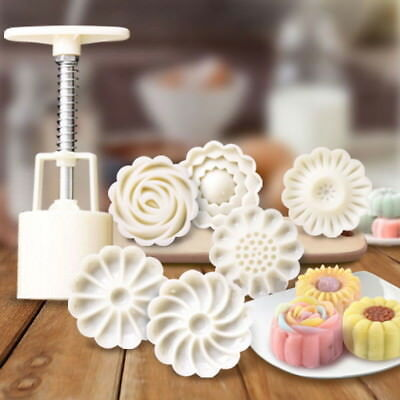 6 Style Stamps Round Flower Moon Cake Mold Mould White Set Mooncake Decor 50g US