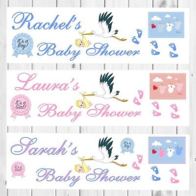 2X PERSONALISED BABY SHOWER BANNERS - Girl Boy Unisex - Pink or Blue