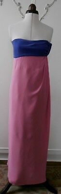 Authentic Valentino Purple, Pink & Yellow Silk Crepe Evening Gown Dress UK Sz 6