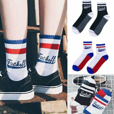 Fuck-Off Letters Women Men Socks Unisex Cotton Fashion Sports Skateboard Hosiery