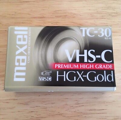 Maxell NEW SEALED VHS-C HGX-Gold Camcorder Video Cassette TC-30 62 Minutes