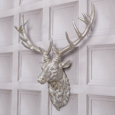 Silver Stag Head Deer Antlers Home Wall Antique Style Decoration Figure Home