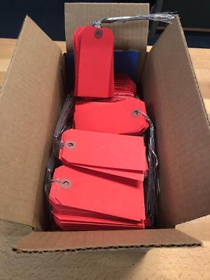1,000 Red Shipping Tags 2 1/8 X 4 1/4 Wired