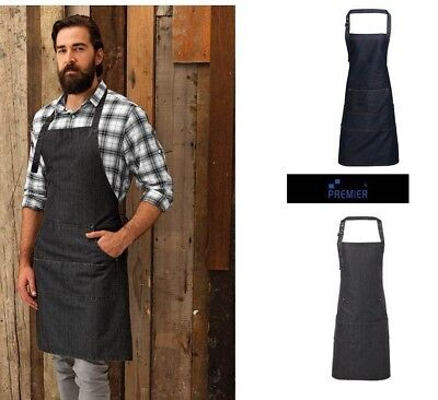 Grembiule in denim 4 tasche premier masterchef cucina bar chef personalizzabile