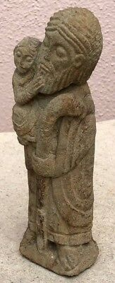 Vintage Carved Stone Statue Father And Child