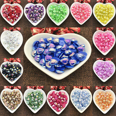 21 Color 8mm 10mm Size Half Love Bead Flat Back bright beads Pearl Scrapbooking