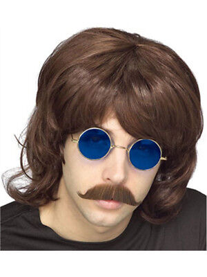 Adult Mens Brown 70s Hippie Costume Shag Shaggy Wig
