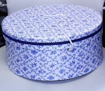 VINTAGE wide brim hat box HATBOX fabric covered padded lid white braided handle