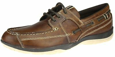 Red Tape Dargle Tan Brown Lace Up Leather Mens Boat Deck Casual Shoes
