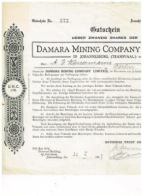 Damara Mining Co. Ltd., Johannesburg (Transvaal) 1927, deutscher Text