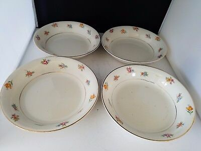 """Crooksville China Co 4 Soup Cereal Bowls Made In USA 7 1/4"""" d 1 3/8"""" h #846"""