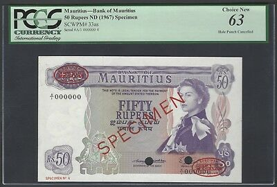 Mauritius 50 Rupees ND(1967), P33as Specimen TDLR N4 Uncirculated