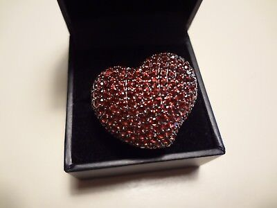 #408- Large Vintage Sg-925 Sterling Silver Heart Ring-Size-10-Loaded With Stones