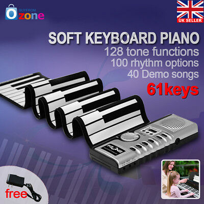 Portable Roll-Up 61 MIDI Soft Keys Flexible Electronic Piano Music Keyboard New
