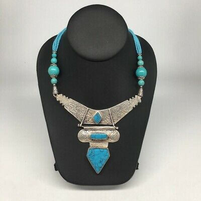 Antique Afghan Turkmen Ethnic Tribal Turquoise Inlay Beaded V-Neck Necklace,VS16