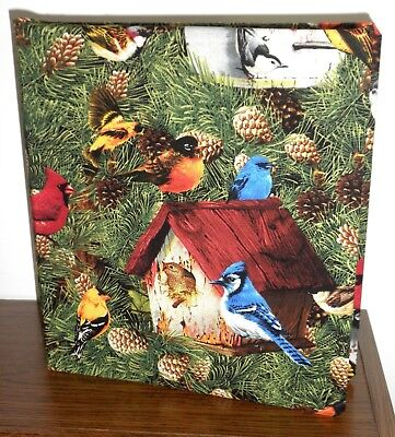 CHOOSE FROM 6 birds fabric cover for 3-ring binder eagle chicken duck birdhouses