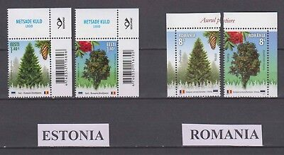 """Estonia / Romania - 2017 """"Forest Species"""" Join Issue (MNH)"""