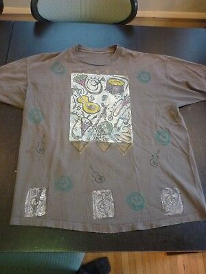 Vintage BLUE FISH Handprint Musical Instruments Large T-Shirt Top All That Jazz