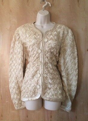 VINTAGE JEANNE MARC Champagne Silky Occasion Evening Jacket Womens XL 16-18