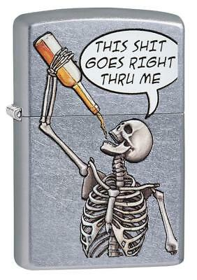 Zippo Windproof Drinking Skeleton Lighter, Goes Right Thru Me 29613, New In Box