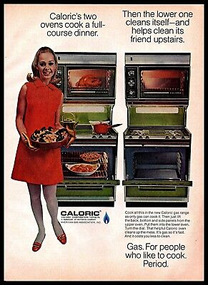 1969 Caloric Green 2 Oven Gas Stove Woman Cooking Dinner Vintage PRINT AD 1960s