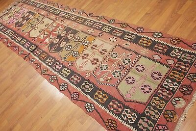 "3'8"" x 13'3"" Vintage Hand Woven Runner Tribal Turkish Kilim 100% Wool Area Rug"