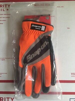 Snap On Large Orange Work Gloves. Touch Screen Compatible.