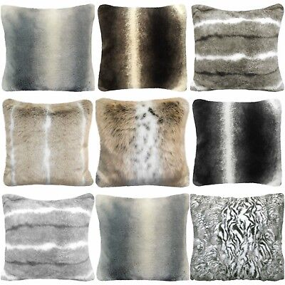 Luxury Furry Faux Fur Animal Stripe Super Soft Cushion Cover Choice Of & Sizes