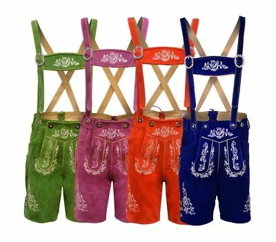 German Bavarian Lederhosen Oktoberfest Real Leather with Matching Shorts Colors