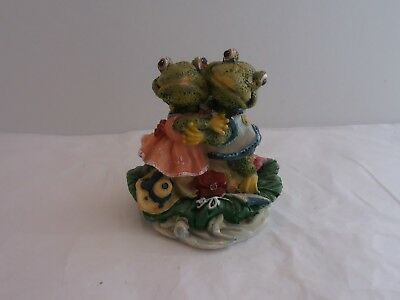 Pair Of Frogs Embracing On A Lily Pad.  Very Nice Frog-Themed Collectible