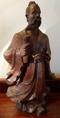 Antique Wind Swept Confucius Statue Hand Carved Wooden Sculpture One Glass Eye